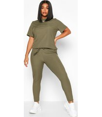 plus rib t-shirt + legging co-ord, khaki