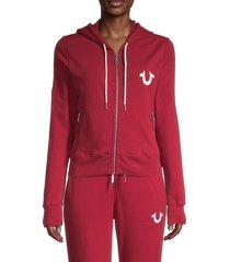 true religion women's vintage-style zip hoodie - bleed true - size m