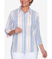 alfred dunner petite lazy daisy dobby stripe shirt