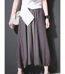 pantaloni di harem della vita elastica di colore puro di modo per le donne