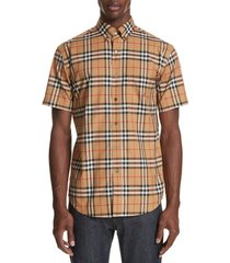 men's burberry jameson woven slim fit check sport shirt, size xx-large - yellow