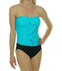 tropical honey one piece swimsuit sz 12 aqua blue black ruffled halter bathing