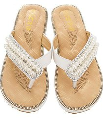 sandalias antideslizantes con punta de clip de diamantes de moda para mujer-blanco