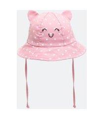 chapéu infantil em algodão - tam 0 a 12 meses | teddy boom (0 a 18 meses) | rosa | 06/12