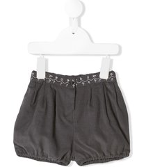 knot embroidered corduroy shorts - grey