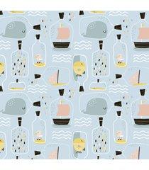 papel de parede barco oceano baby infantil 57x270cm - multicolorido - dafiti