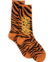 stadium goods tiger-print socks - orange