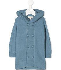 cashmirino hooded knit cardigan - blue
