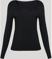 blusa feminina básica manga longa decote v preto