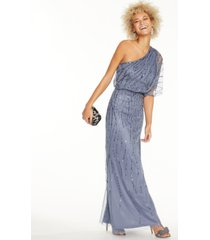 adrianna papell sequined one-shoulder gown