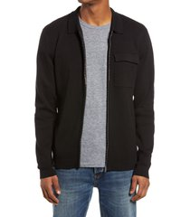 men's topman knit men's bomber jacket, size xx-large - black