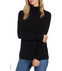 women's halogen cashmere turtleneck sweater, size xx-large - black