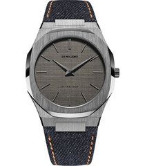 d1 milano denim ultra thin 40mm watch - green