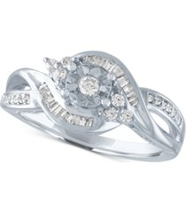 diamond baguette swirl promise ring (1/4 ct. t.w.) in sterling silver