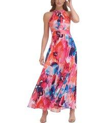 eliza j floral-print halter-neck maxi dress