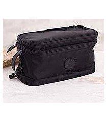 leather accented cotton blend travel bag, 'stylish traveler' (peru)