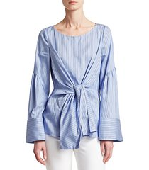 striped tie-front blouse