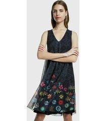 vestido desigual azul - calce regular