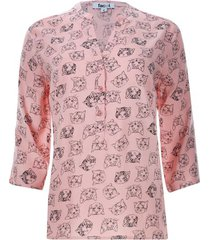 blusa estampada gatos color rosado, talla l