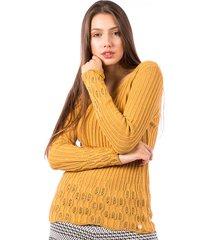 blusa tricot carlan canelada decote redondo