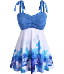 butterfly smocked ruched tie shoulder plus size tankini swimwear