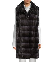 quilted drawstring dyed mink fur vest