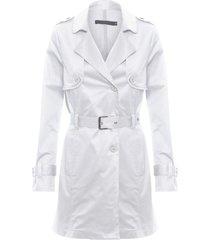 trench coat feminino de sarja - off white