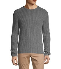 cashmere ribbed crewneck sweater
