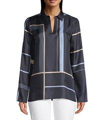 lafayette 148 new york women's nellie geometric-print silk shirt - ink multi - size xs