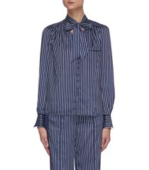 addison tie neck striped blouse