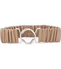 erika cavallini ruched waist belt - neutrals