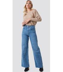 na-kd trend high rise wide leg jeans - blue