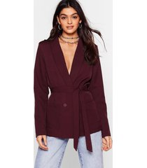 womens belt foot forward relaxed belted blazer - chocolate