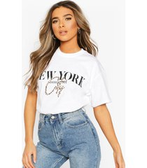 petite leopard city slogan oversized t-shirt, white