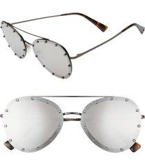 valentino 58mm metal aviator sunglasses in silver/silver mirror at nordstrom