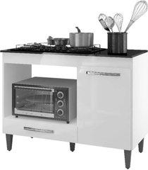 balcão para cooktop 4 bocas e forno microondas carla branco - ajl móveis