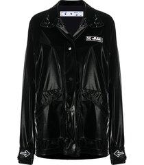 off-white vinyl short coat - black
