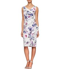 alex evenings side ruched cocktail dress, size 10 in ivory multi at nordstrom