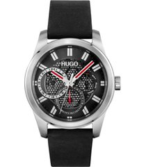 hugo men's #skeleton black leather strap watch 44mm