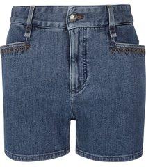 chloé stitch detail denim shorts