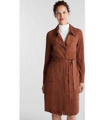 abrigo mujer de suede marrón esprit