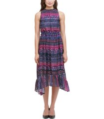 kensie printed tiered high-low dress