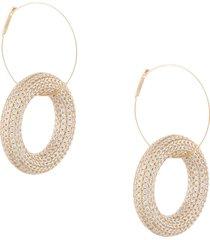 jil sander crystal-embellished hoop pendant earrings - gold