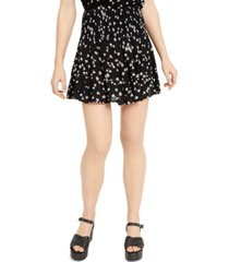 ultra flirt juniors' printed smocked-waist mini skirt