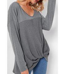 gris delantero anudado diseño camisetas de manga larga con cuello en v