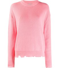 laneus geranio distressed sweater - pink