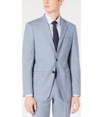 calvin klein men's x-fit slim-fit light blue sharkskin suit jacket