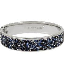kenneth cole new york silver-tone sprinkle stone hinged bangle bracelet