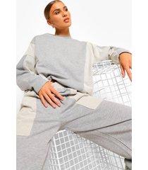 sweater met vleermuismouwen en panelen, grey marl