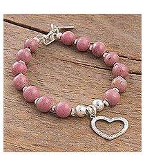 rhodonite beaded bracelet, 'love fascination' (peru)